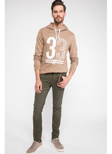 DeFacto Slim Fit Sweatshirt Bej